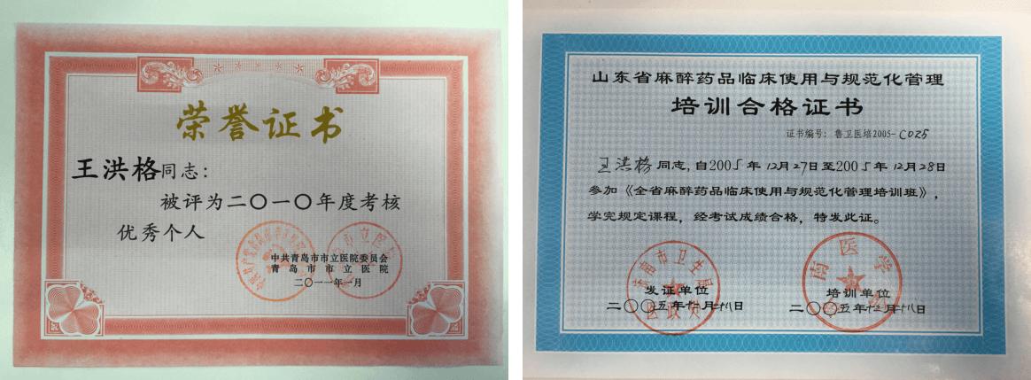 王洪格教授获荣誉证书+合格证书
